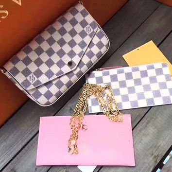 LV Newest Fashionable Women Shopping Leather Shoulder Bag Crossbody Purse Wallet Card Package Set Three Piece White Check