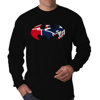 New England Inspired Batman Marvel Superhero Logo Long Sleeve Men's T-Shirt Long Sleeve Men's Tees Men's Shirt