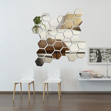 DIY 3D Home Mirror Hexagon Vinyl Removable Wall Sticker Decal Art Bedroom Living Room Home Decor