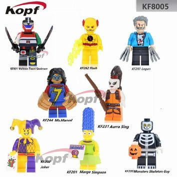 Single Sale Super Heroes Marge Simpson Aurra Sing Voltron Team Godmars The Flash Joker Building Blocks Children Gift Toys KF8005