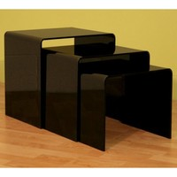 Acrylic Black Table 3 - Pc Table Set Display Stands