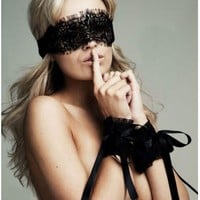 New Women's Sexy Lingerie Adult Sex products Black Lace Eye Covers with 1 pair Gloves Hand Wrap Sex Toy Costumes Hot