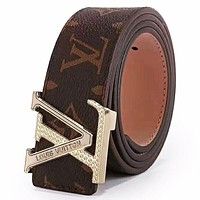 LV Louis Vuitton 2019 new classic monogram men and women models fashion simple wild smooth buckle belt Coffee Monogram Belt