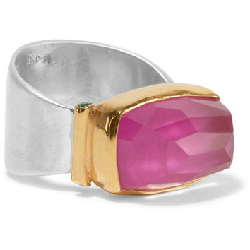 Katerina Makriyianni - Gold-plated, silver and crystal ring