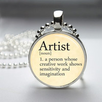 Photo Art Glass Bezel Pendant Artist Dictionary Definition Necklace