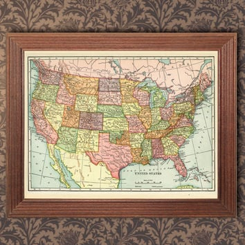 Vintage Map of United States, Old map 1906, Canada, Asia ,Europe, Australia, printable digital download ,Printable Home Decor, Wall Decor