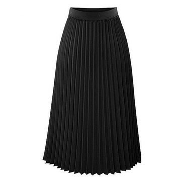 Women's High Waist Pleated Solid Color Length Elastic Skirt