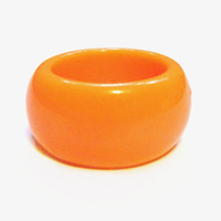 Vintage Lucite Plastic Ring, Orange Band