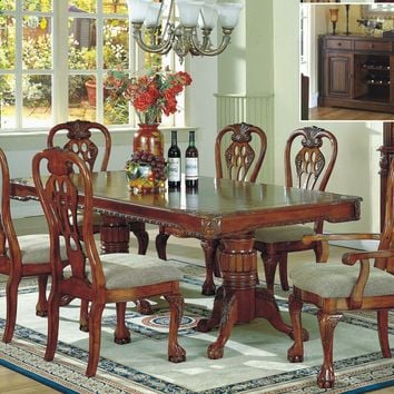 7 pc Patricia II oak finish wood country style double pedestal dining table set with carved accents