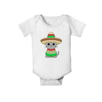 Cat with Sombrero and Poncho Baby Romper Bodysuit by TooLoud