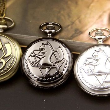 Antique Silver Fullmetal Alchemist Anime Steampunk Horse knight Pocket Watch Necklace Cosplay Edward Elric with Chain Anime Gift