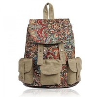 ZLYC Backpack with Ethnic Style Patten Printing leisure backpack travel backpack fashion schoolbag