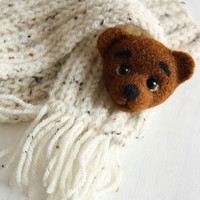Needle Felted Brown Bear Brooch, needle felted jewelry, funny