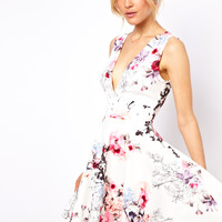 ASOS | ASOS Floral Coloured Skater Dress at ASOS