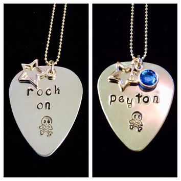 "Tickle Bug Kidz: Personalized Aluminum Guitar Pick Birthstone necklace with 18"" sterling silver bead chain."