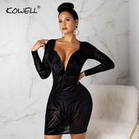 Sexy Perspective Long Sleeve Black Lace Party Dress Bodycon Deep V Neck Mini Dress Package Hips Club Dresses Woman Party Night