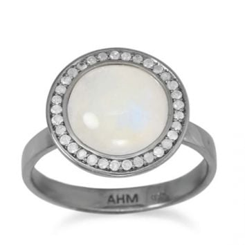 Gray Diamond and Moonstone ring