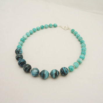 Amozonite and Chrysocola Necklace, Blue Gemstone Necklace, Necklace in Blue