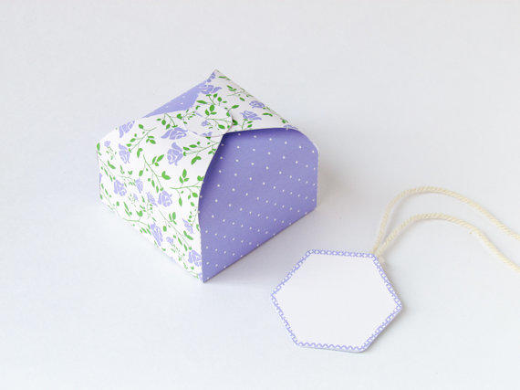 diy printable gift box lavender roses no glue slotted bridal fa