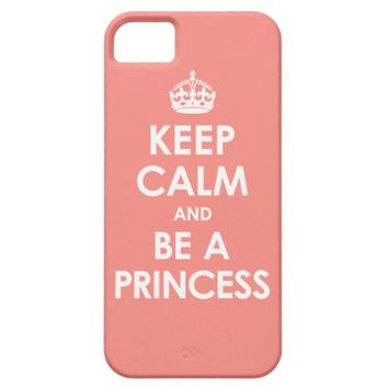 Coral Pink Keep Calm & Be a Princess iPhone 5 Case from Zazzle.com