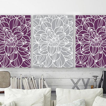 PURPLE GRAY Wall Art, Outline Flower Art, Floral Home Decor, CANVAS or Prints, Purple Bathroom Decor, Purple Gray Bedroom Pictures, Set of 3