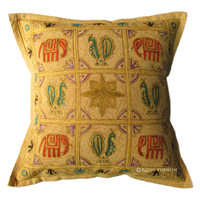 India Vintage Elephant Peacock Hand Embroidered Throw Pillow