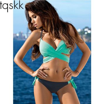 TQSKK New 2017 Cross Halte Bikinis Women Swimsuit Female Swimwear Brazilian Bikini Set Vintage Summer Bathing Suit Wear Biquini