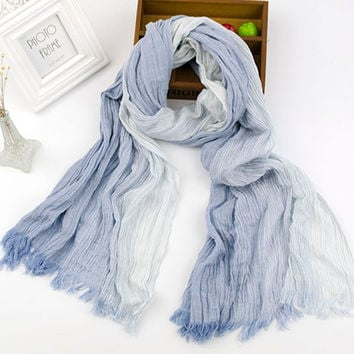 Cotton Linen Stripes Scarf [9042035652]