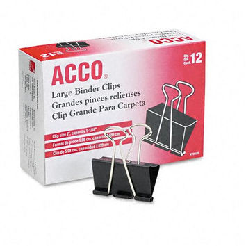 ACCO Binder Clips, Large, 12 Per Box (72100)