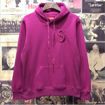 Supreme 2017 new couple Hip-Hop sup embroidered logo hooded multicolor plus cashmere sweater coat  Purple