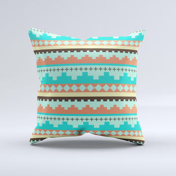 Teal & Gold Tribal Ethic Geometric Pattern  Ink-Fuzed Decorative Throw Pillow