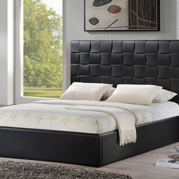 Baxton Studio Prenetta Black Modern Bed with Upholstered Headboard - Queen Size Set of