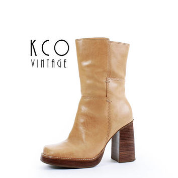 Platform Boots 8 Tan Leather Boots Chunky Block Heel Boots Leather Ankle Boots High Heel Boots Vintage Women's Size US 8 / UK 6 / EUR 38 -39