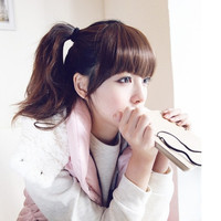 Sweet Charming Bang With Sideburns Wig Korean Style Bang for Girls (Color: Dark brown) = 1842243524
