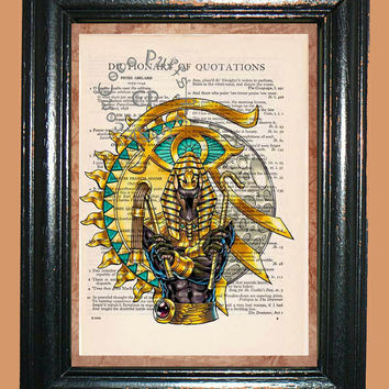 Golden Egyptian Eye of Ra & Anubis -- Vintage Dictionary Book Page Art - Upcycled Page Art - Collage Mixed Media Art
