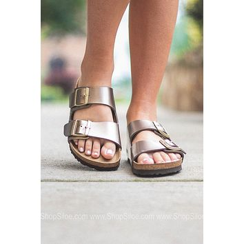 Arizona Electric Metallic Birkenstocks | Taupe