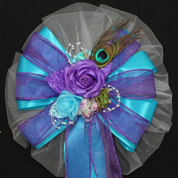 Turquoise Peacock Purple Rose Glitter Wedding Pew Bows Ceremony Aisle Decorations