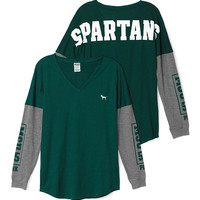 Michigan State University Long Sleeve V-neck Tee - PINK - Victoria's Secret