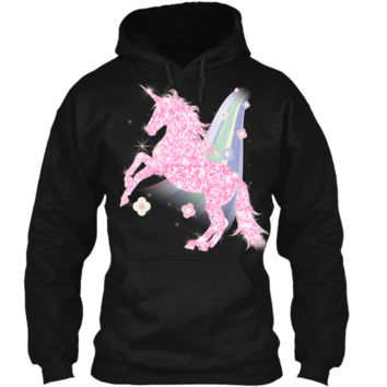 Easter or Flower Rainbow Unicorn Pink Sparkle T-Shirt Gift Pullover Hoodie 8 oz