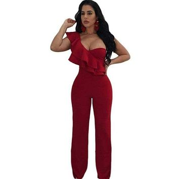 Woman Overalls Sexy Night Club Ruffles One Shoulder Falbala Design Party Wide Leg Jumpsuits Long Pants Playsuits Romper Female