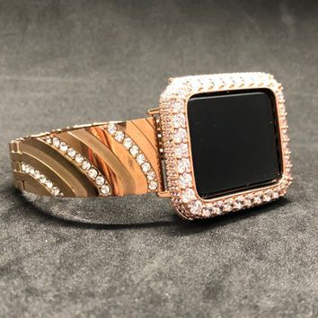 Apple Watch 38mm 42mm Band Series 1 2 3 Women Mens Rose Gold Rhinestone Crystals/ Iced Out Bezel Case Cover 2mm Lab Diamonds Iwatch Bling