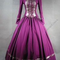 Gothic Victorian Brocade Dress Period Ball Gown Reenacting Clothing Theatre 111