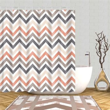 Striped style fashion bathroom accessories home decor bath curtain fabric washable shower curtains bath screens with hooks