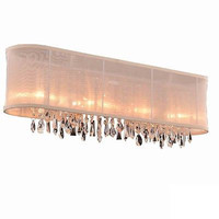 Fancy Crystal Accents Modern Style 4 Light Wall Sconce Vanity Bathroom Fixture