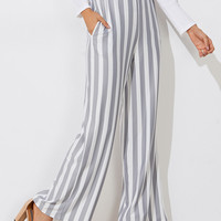Block Striped Wide Leg PantsFor Women-romwe
