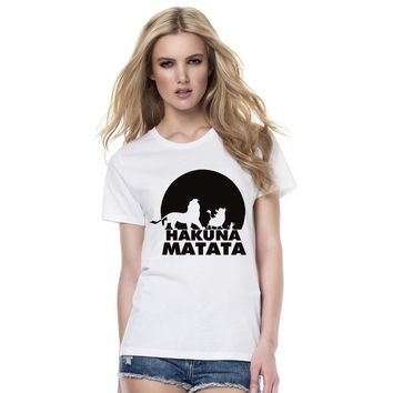 New 2018 Hakuna Matata Letter Print Tee Shirt Summer Women Short Sleeve T Shirt Women Summer Hipster Casual Cotton Top