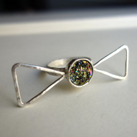 Green Moss Drusy Bow Ring Handmade in Sterling Silver