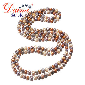 [DAIMI] Multi Color Baroque Pearl Necklace 7-8 mm Natural Pearl Long Necklace Beach Style