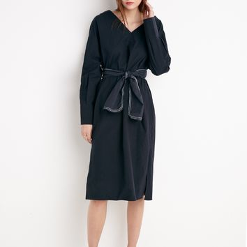 Charcoal Stitched Belted Shirt Dress