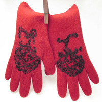 ON SALE 20% Off - Handmade felted  gloves - felt gloves - unique Ooak